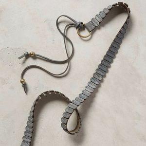 $50 NWT ANTHROPOLOGIE Gray Skinny Tab Tie Belt